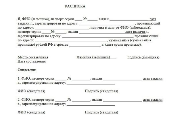 Залоговая расписка. Образец и бланк для скачивания 2020 года