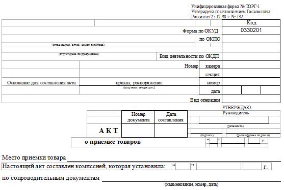 Акт приема-передачи товара. Образец и бланк для скачивания 2020 года