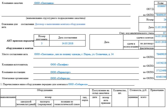 Акт установки оборудования. Образец и бланк 2020 года