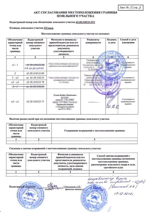Акт согласования границ земельного участка. Образец заполнения и бланк 2020 года