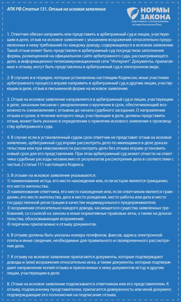 Образец возражения на исковое заявление в арбитражный суд 2020 г.