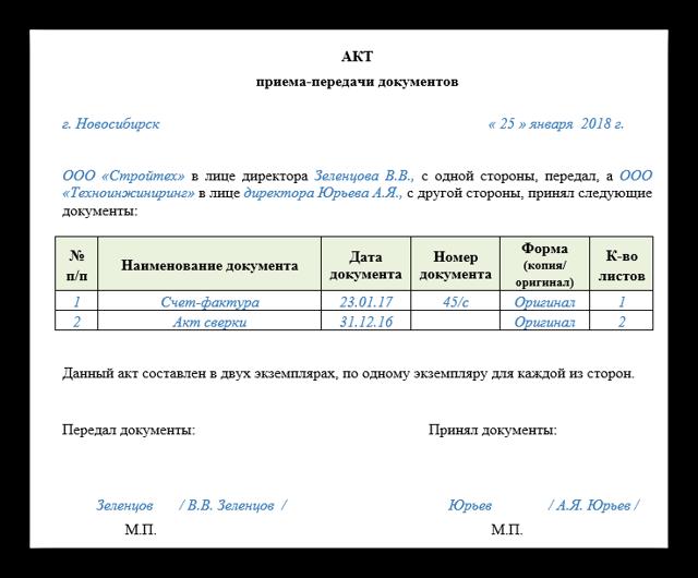 Акт приема-передачи документов. Образец и бланк для скачивания 2020 года
